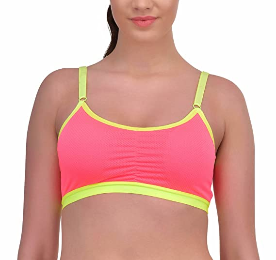 a3033a94e2 N-Gal Lightly Padded Low Impact Pink Workout Fitness Training Sports Bra   Amazon.in  Clothing   Accessories