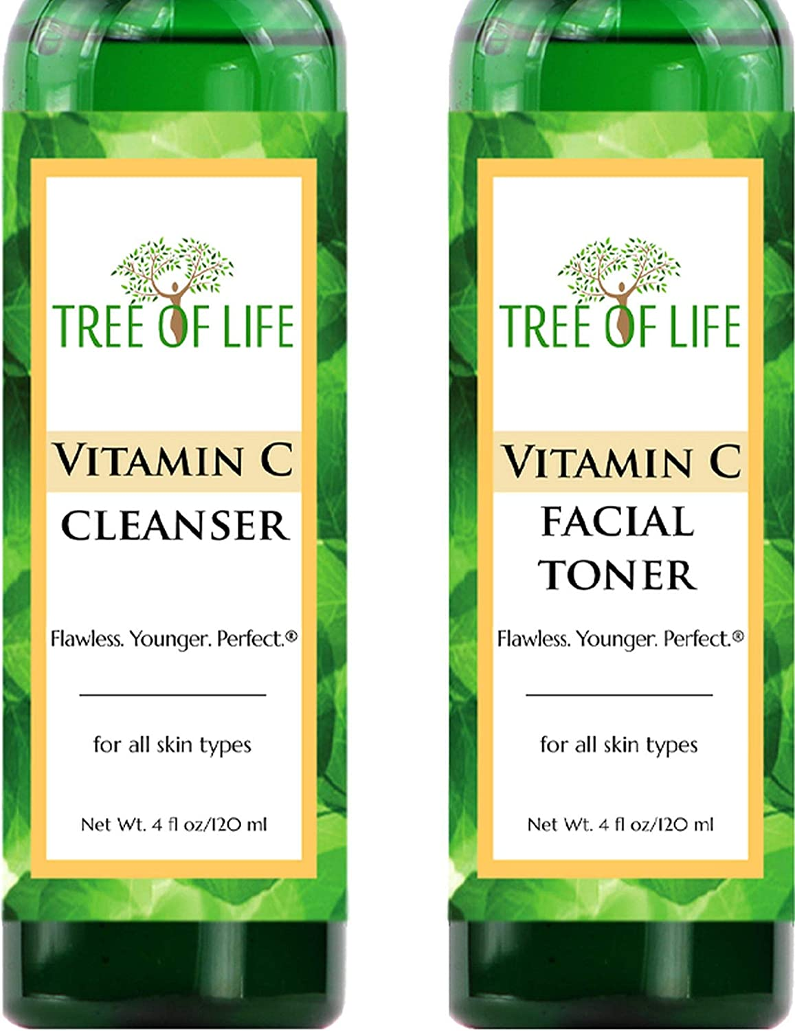 Vitamin C Facial Cleanser and Toner Combo 2-Pack - Cleanse and Tone Your Skin for Soothing Skincare Results