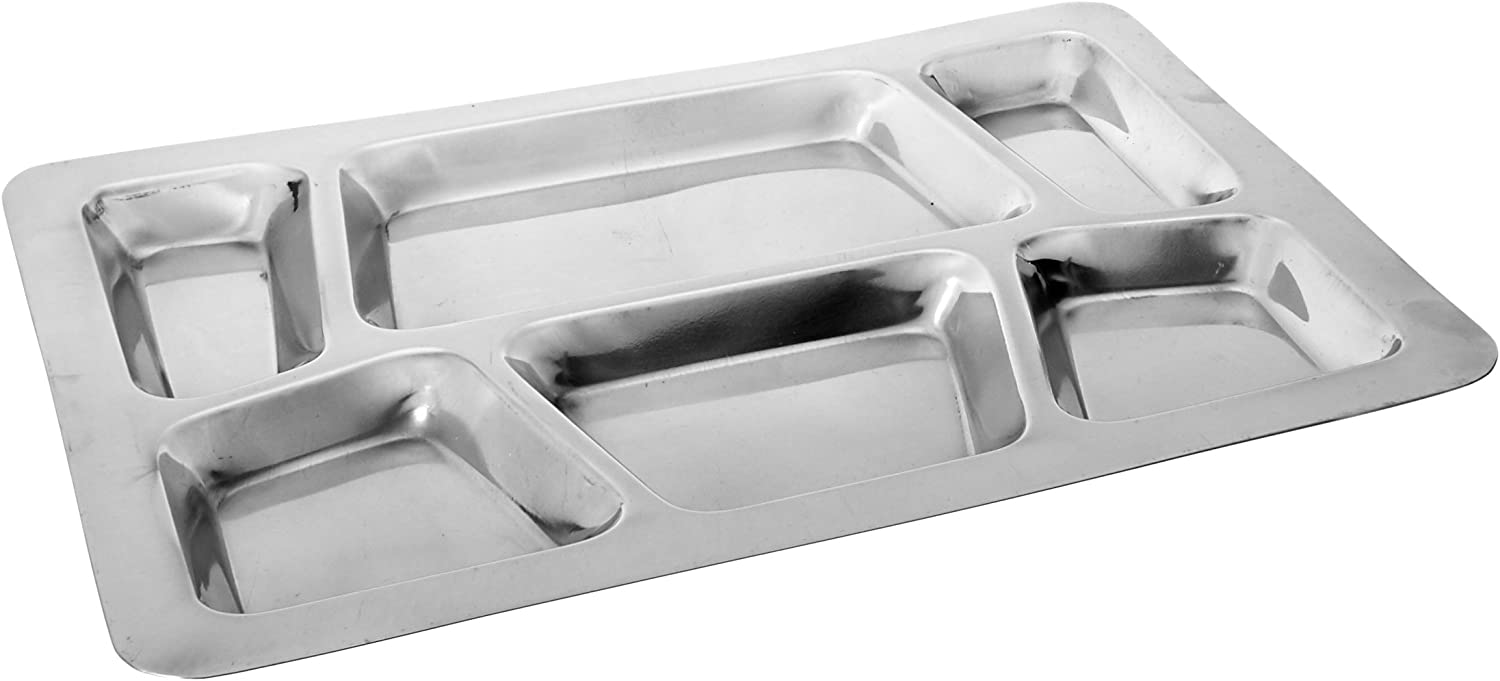 | Winco - SMT-2 Winco 6-Compartment Mess Tray, Style B, Stainless Steel, Medium: Divided Serving Trays: Divided Trays & Platters