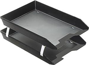 Acrimet Facility 2 Tier Letter Tray Front Load Plastic Desktop File Organizer (Black Color)