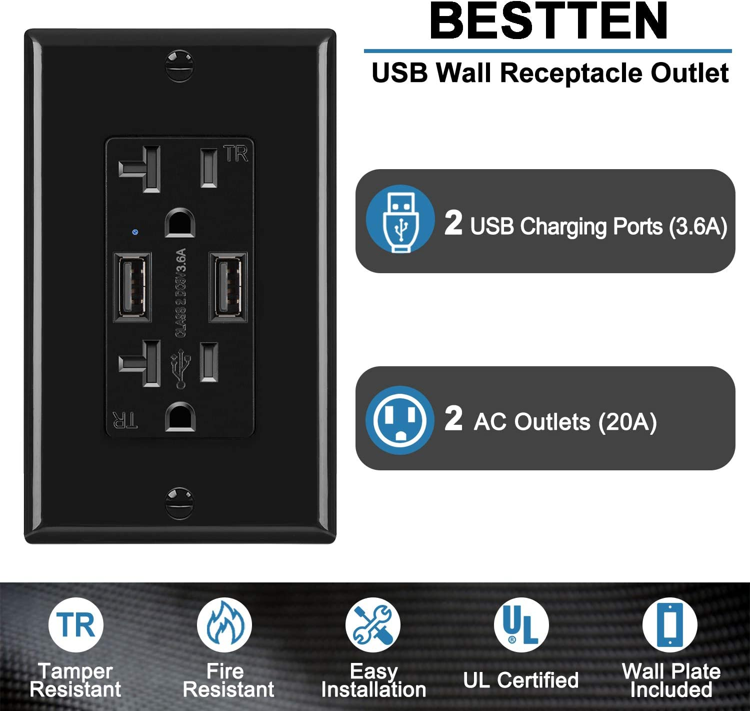 Black BESTTEN UL 3.6A Dual USB Receptacle Outlet with 20 Amp Tamper Resistant Sockets Wall Plate Included 5 Pack