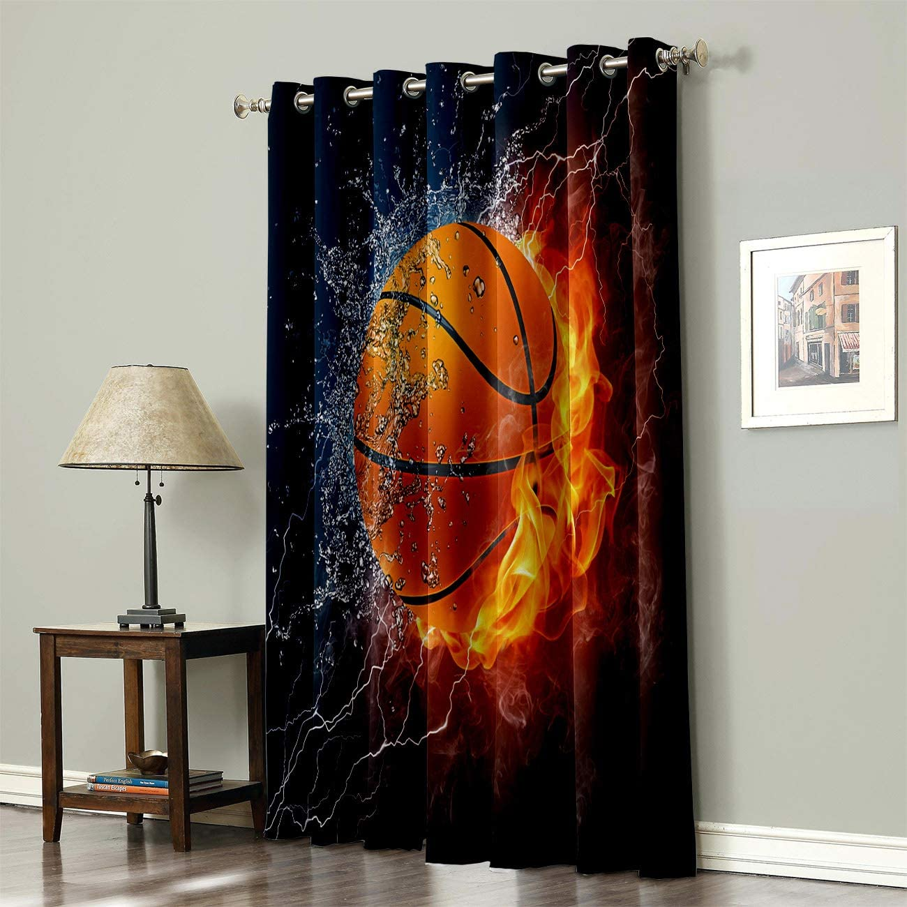 52 x 24 Prime Leader Curtains for Living Room with Grommet Home Decor Basketball on Fire and Water Flame Splashing Lightning Darkening Thermal Insulated Window Treatment Curtains