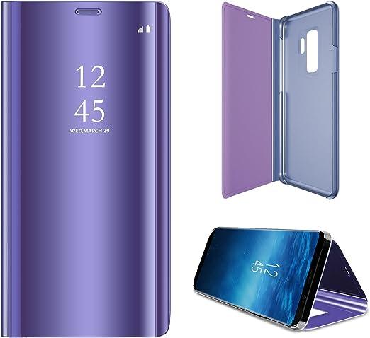 Galaxy S9/Miroir Flip Coque Luxe Feux-plaquent Plating Coque avec b/équille Smart Clear View Coque avec Protection d/écran Une Couverture compl/ète Film Souple pour Samsung Galaxy S9