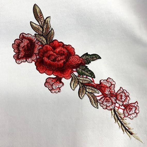 Tesan bordado flor, rosa flor coser correctifs bolsa Hat appliques ...