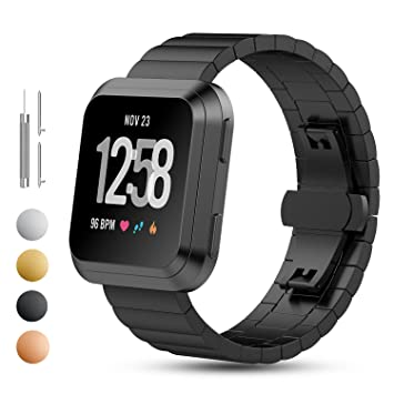 iFeeker Fitbit Versa - Correa de reloj de repuesto para Fitbit Versa, correa de acero inoxidable con ajuste fácil para reloj inteligente Fitbit Versa, ...