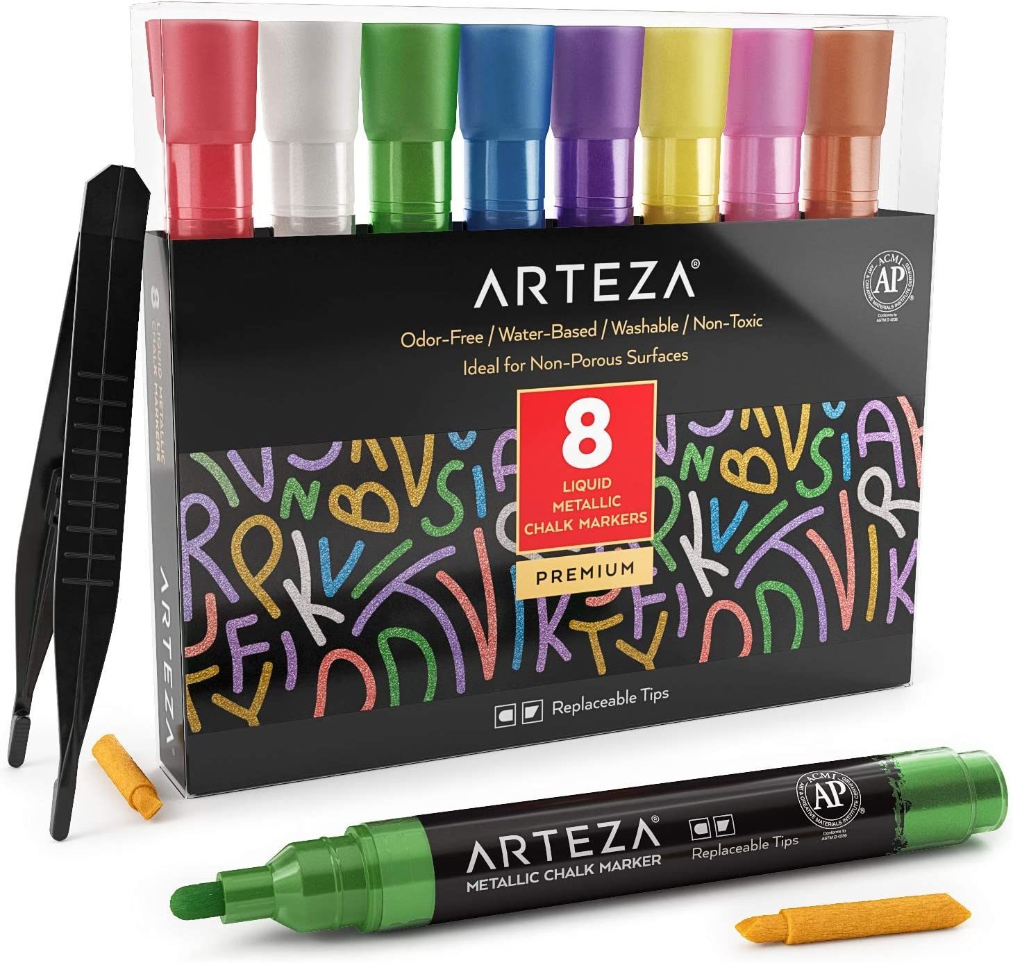 Arteza Liquid Chalk Markers Set of 8 (8 Metallic Colors, 8 Replaceable Chisel Tips, 1 pc Tweezers, 50 Labels, 2 Sticky Stencils) - Washable - Non-Toxic - Odor-Free - Use on Chalkboard, Glass, Mirrors