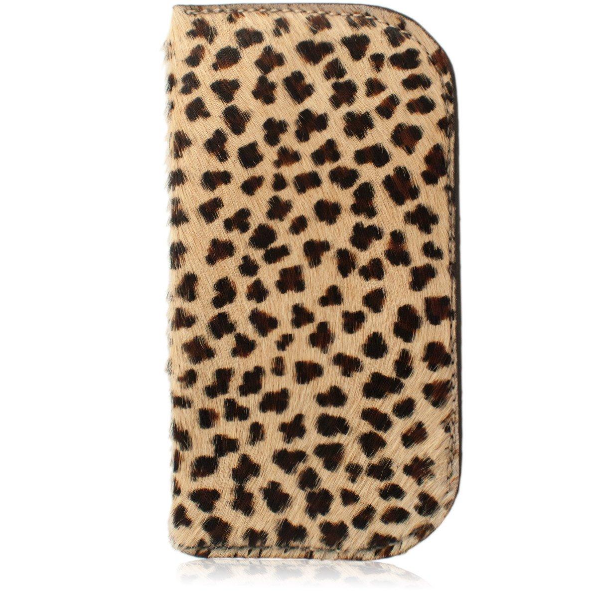 Furry Cheetah Leopard Print Genuine Leather Soft Glasses Case