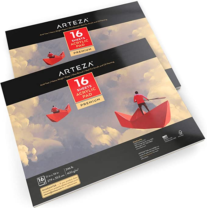 "ARTEZA 11x14"" Acrylic Pad, Pack of 2, 32 Sheets (246lb/400gsm), 16 Sheets Each, Glue Bound Artist Acrylic Paper Pads, Ideal for Acrylic Painting"