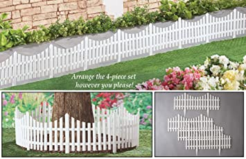 Amazoncom Collections Etc Flexible White Picket Fence Garden