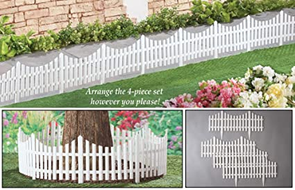 white fence. Collections Etc Flexible White Picket Fence Garden Borders - Set Of 4