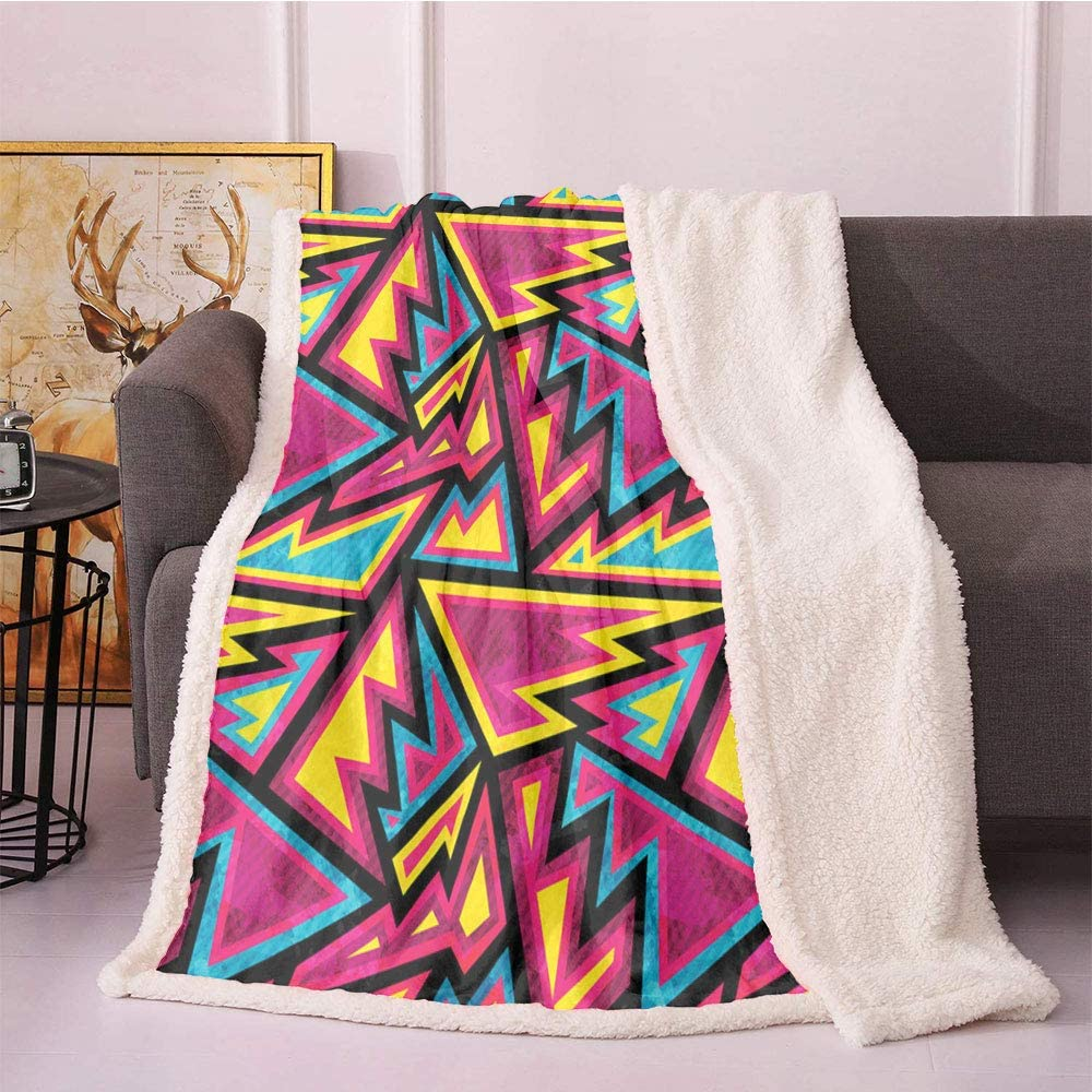 """SeptSonne Contemporary Plush Blanket,Psychedelic Geometric Pattern with Triangle Sixties Inspired Colorful Abstract Light Thermal Blanket,Coverlet Throw Blankets(60""""X80"""" inches,Multicolor)"""
