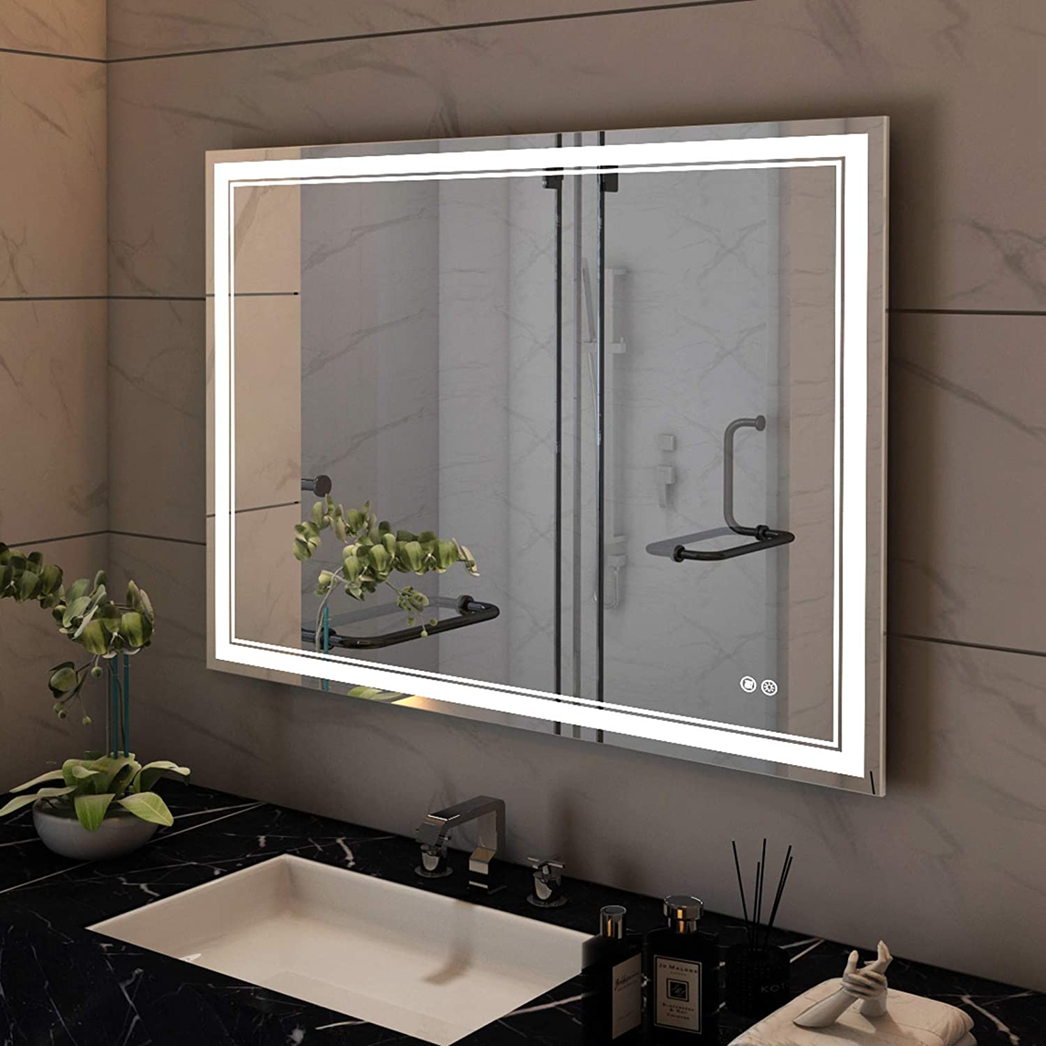 Okpal 40 x 32 Inch LED Bathroom Vanity Mirror, Large Wall Mounted Anti-Fog Dimmable Makeup Mirror with Lights, Memory Touch Switch, White/Neutral/Warm Light, Horizontal/Vertical