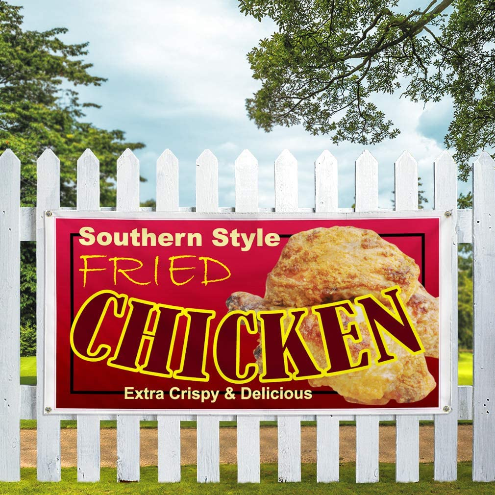 24inx60in Set of 3 Multiple Sizes Available Vinyl Banner Sign Southern Style Fried Chicken Restaurant Cafe Style U South Brown 4 Grommets