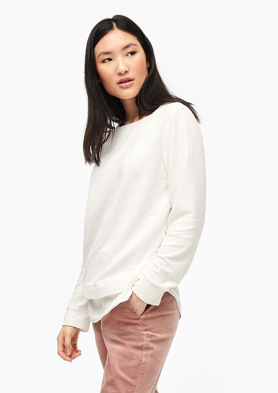 s.Oliver Damen Sweatshirt mit Layering Elfenbein (Creme 0210)