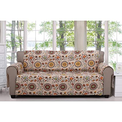 Miraculous Amazon Com Mn 1 Piece White Red Floral Theme Sofa Protector Gamerscity Chair Design For Home Gamerscityorg