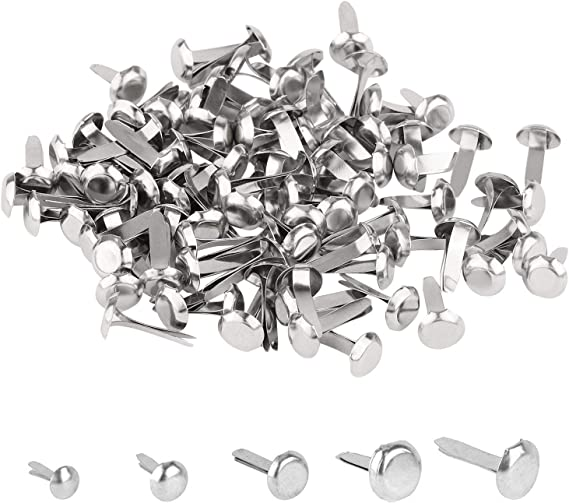 EXCEART 100Pcs Pearl Brads Paper Fasteners Brads Mini Brads Fasteners Metal Paper Fasteners for Scrapbooking Crafts DIY Paper