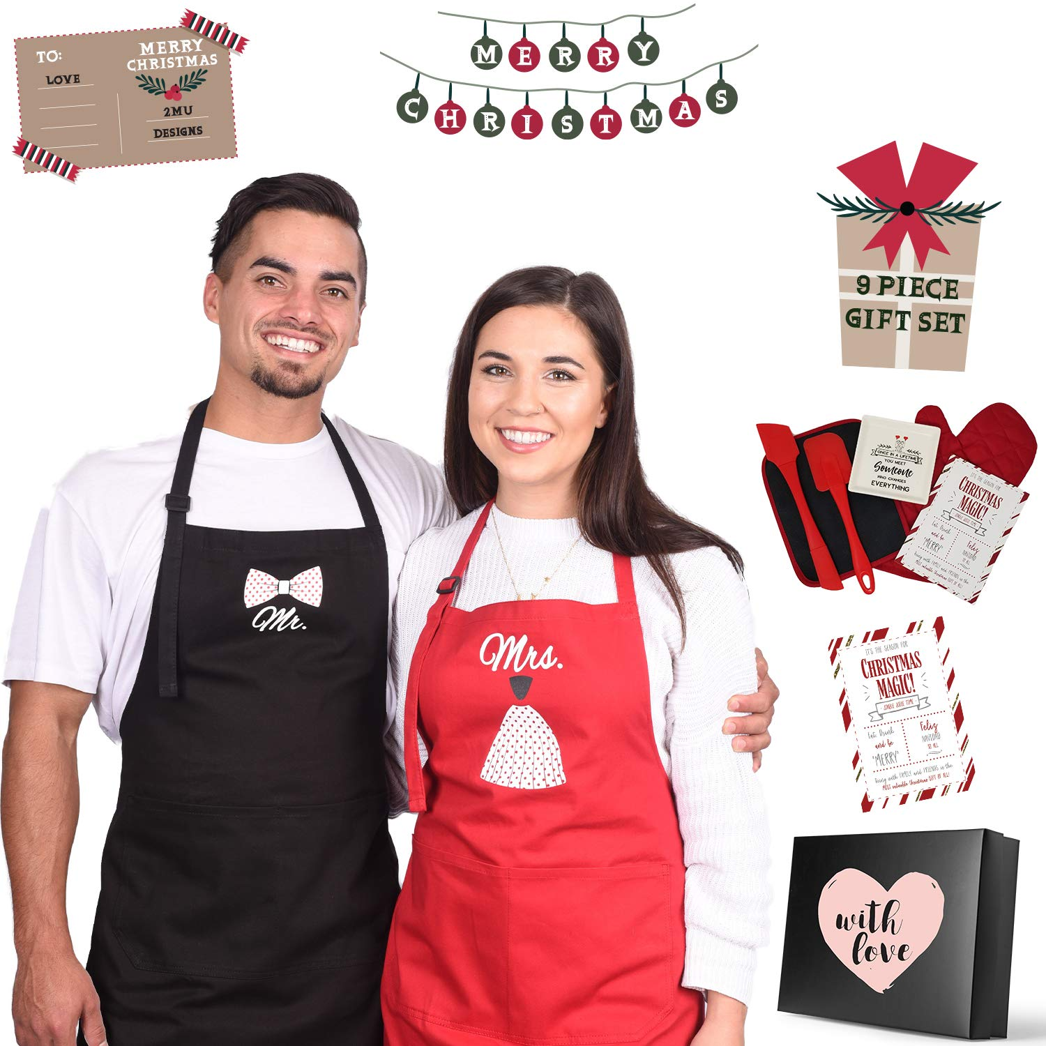 2MU Mr Mrs Funny Wedding Gifts for The Couple | Best Apron Set | Bridal Shower Gift Ideas Ideas | His and Hers | 9 Piece Set | Free Oven Mitt, Potholder, Ring Dish, and Spatulas
