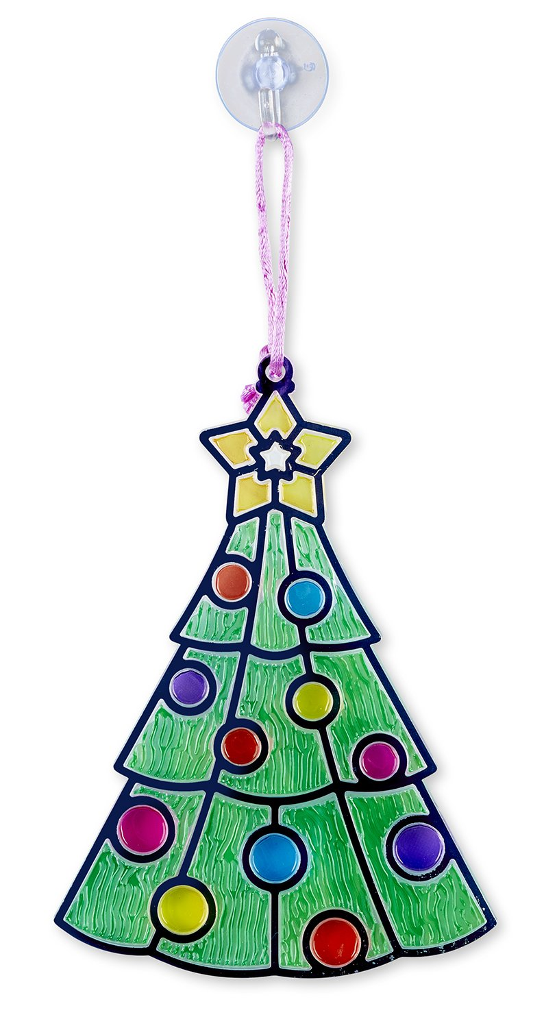 Christmas Stained Glass Ornaments Part - 42: Amazon.com: Melissa U0026 Doug Stained Glass Made Easy Craft Kit - Santa And  Tree Ornaments: Toys U0026 Games