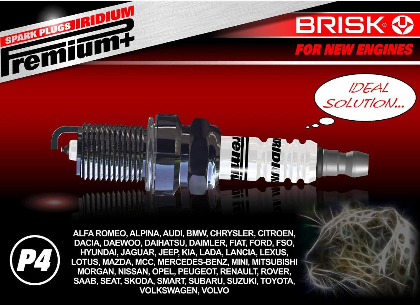 Plus P4 DR15YIR 1622 Bougies dallumage BRISK Iridium Premium 6 pi/èces