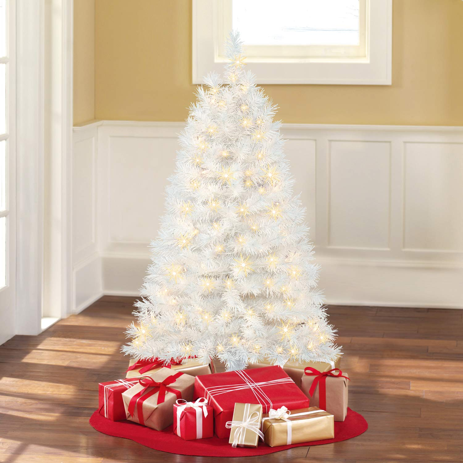 Amazon.com: 4 Ft. Pre-Lit Clear White Indiana Spruce Artificial ...