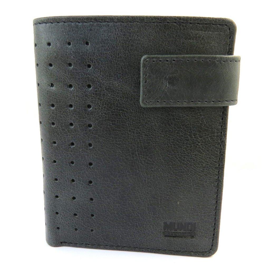 4.45x3.54 22 cards - 11.3x9 cm . Leather wallet Mundiblack white vintage