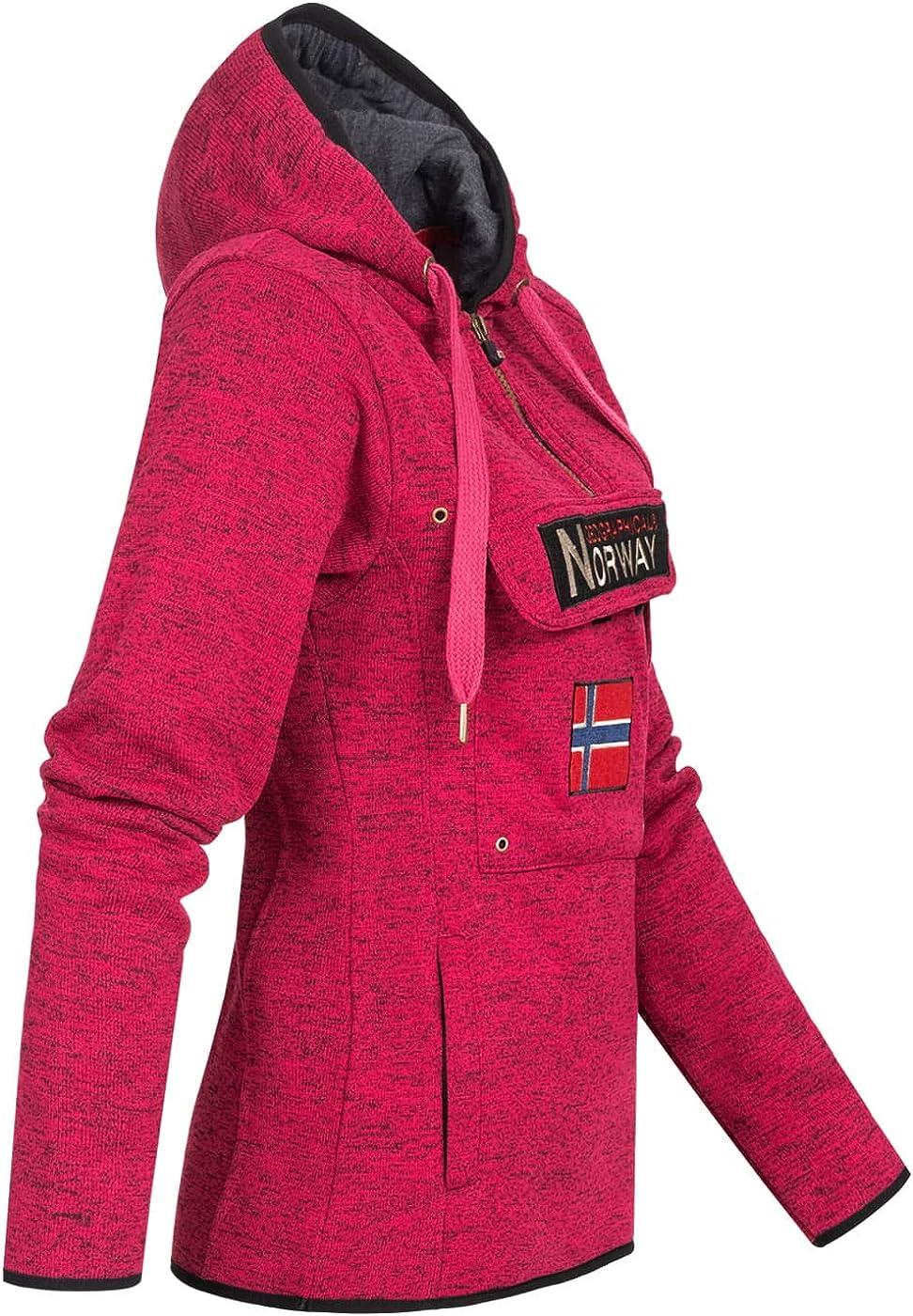 Geographical Norway Damen Half Zip Hoodie Kapuzenpullover Sweater Brusttasche Embro Känguru Pocket Sleeve Rupper Patch Flash Pink