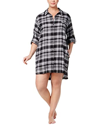 2553b5f9acc6b Image Unavailable. Image not available for. Color  DKNY Women s Plus Size  Plaid Flannel Boyfriend Sleepshirt ...