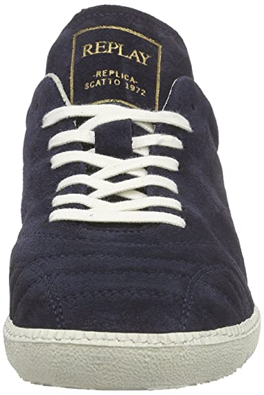 (Replay) Stone Scatto 1972 Navy Suede Mens Trainers Shoes-11