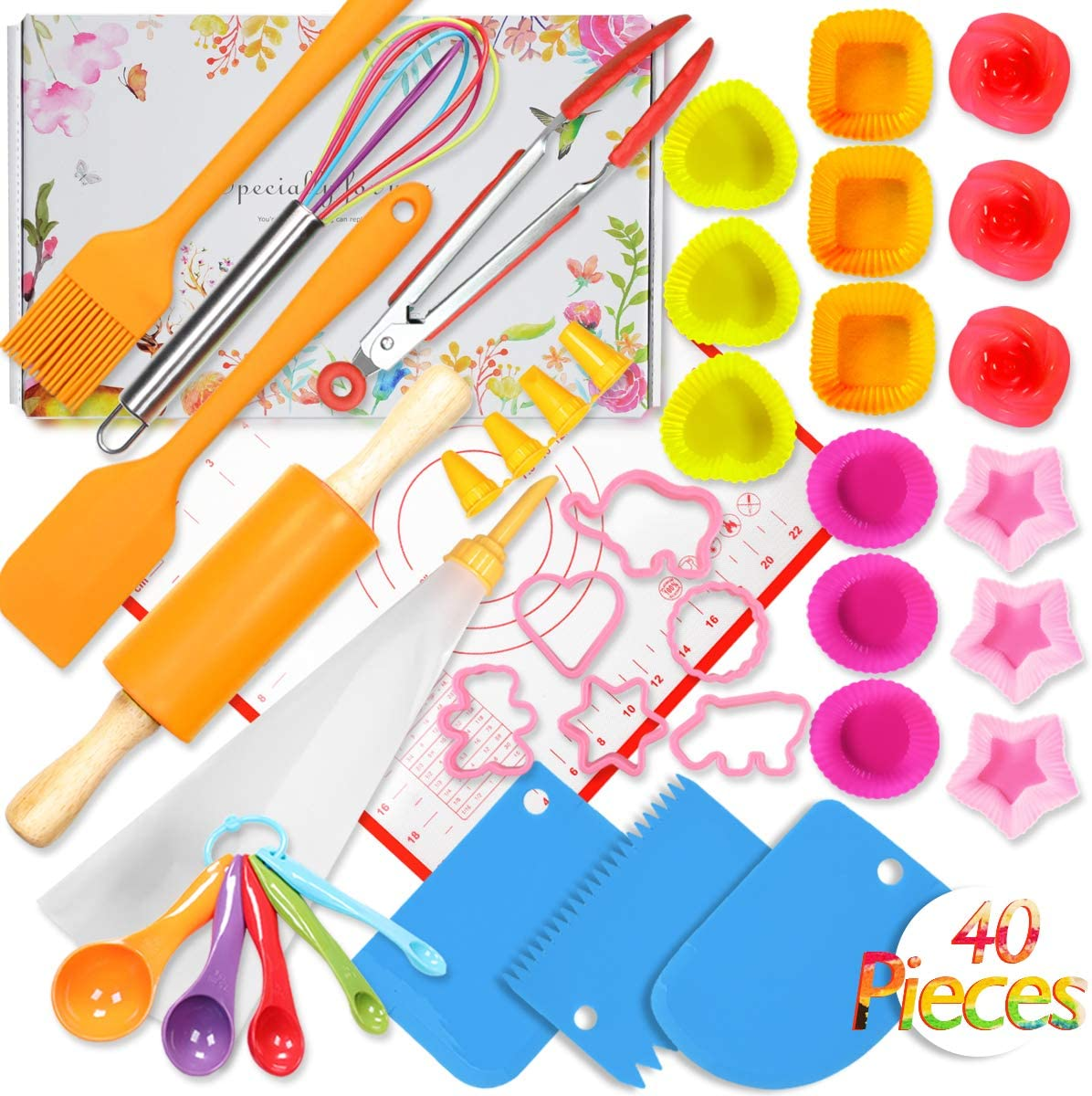 Shacoryze Kids Cooking and Baking Set 40 Pcs with Gift Box, Real Kitchen Utensils Kit for Toddlers Teens, Gift for Girls&Boys, Nonstick Rolling Pin Silicone Pastry Mat Cupcake Molds