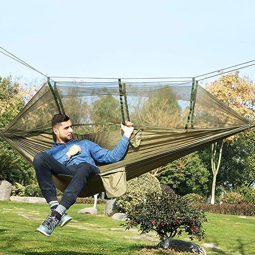ShiXuan Ultraligero Caza para Acampar al Aire Libre Mosquitera Paracaídas Hamaca 2 Personas Jardín Cama Colgante Ocio: Amazon.es: Jardín