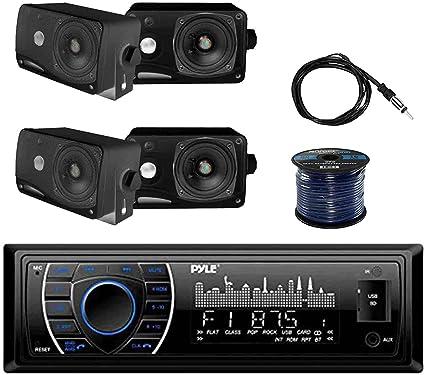 PLRMR27BTB In-Dash Receiver w//Pyle Speakers EKMR2 Antenna /& Speaker Wire