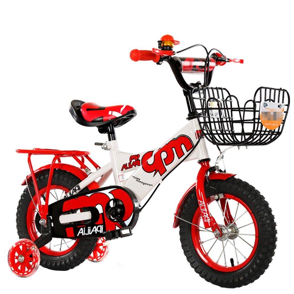 KANGR-子ども用自転車 子供の自転車適切な2-3-6-8男の子と女の子子供のおもちゃアウトドアマウンテンバイクハンドルバー/サドルの高さは、フラッシュトレーニングホイールで調節可能 後部座席-12 / 14/16/18インチ ( 色 : 赤 , サイズ さいず : 14 inch ) B07C9VLYJ2赤 14 inch