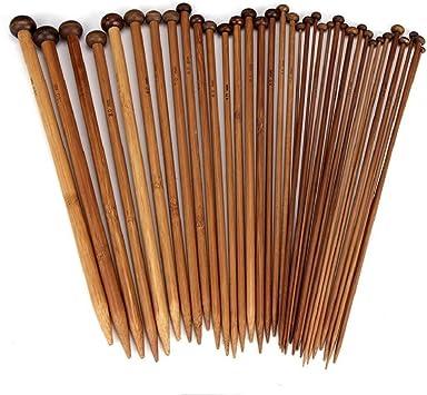 18Pairs Single Pointed Carbonized Bamboo Knitting Needles 2-10mm 18Sizes 36cm