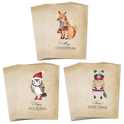 Amazon woodland animals assorted holiday greeting cards set woodland animals assorted holiday greeting cards set of 24 shabby chic farmhouse folded christmas m4hsunfo