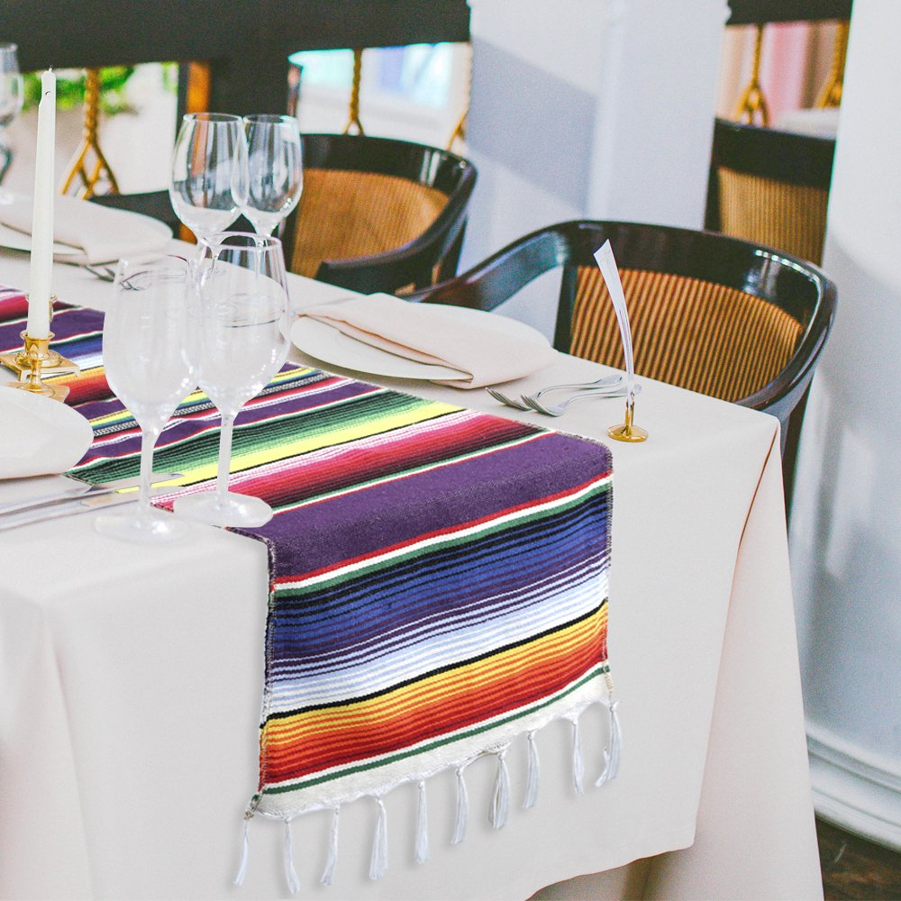 Marry Acting 14 x 84 Inches Mexican Striped Table Runner, Multi-Colored Fringe Cotton Serape Blanket for Graduation Fiesta Wedding Party Home Decoration
