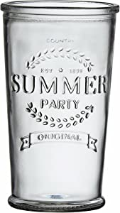 Amici Home 16 oz Summer Party Hiball Glass Drinkware, Set of 6 Glasses