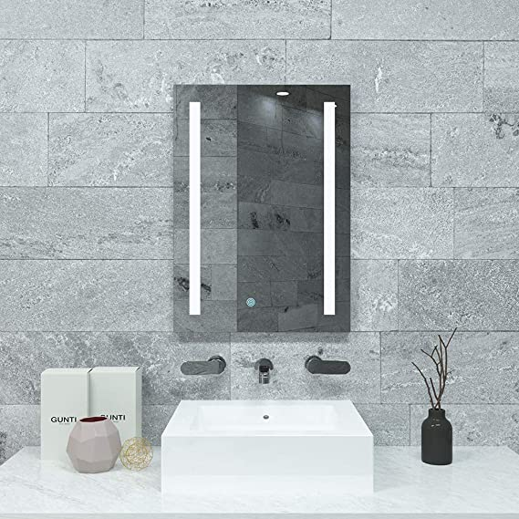 ELEGANT 500 x 700mm Anti-Fog Illuminated LED Bathroom Mirror Cabinet Stainless Steel Frame Wall Storage Mirror with Lights with Sensor Switch and Demister Pad