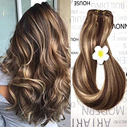 Clip In Human Hair Extensions Medium Brown With Honey Blonde Highlights 4 27 Clip On Balayage Ombre Hair Extensions 16 Inch 7 Pcs Full Head Silky