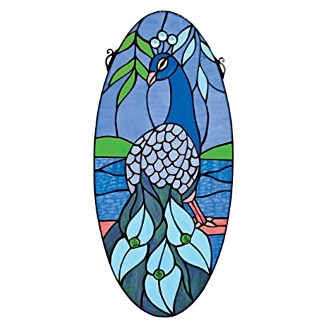 Amazoncom Stained Glass Panel Majestic Peacock Oval Stained - Stained glass window stickers amazon