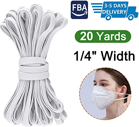 sold In 20 Yard Batches Elastic 1//4 inch white