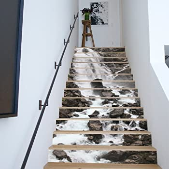 ... Mountain Water Self Adhesive Stair Riser Decal   Stair Stickers Decals  Wallpaper For Walls Kitchen Bathroom Stair Decals Home Decoration (FS043)