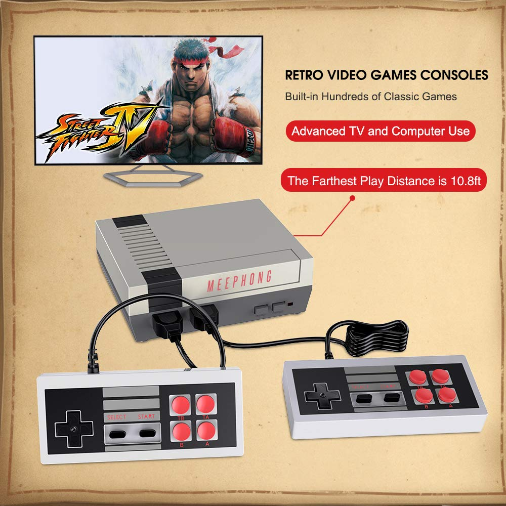 MEEPHONG Retro Game Console, HDMI HD NES Console Classic Game Console Built-in Hundreds of Classic Video Games by MEEPHONG (Image #4)