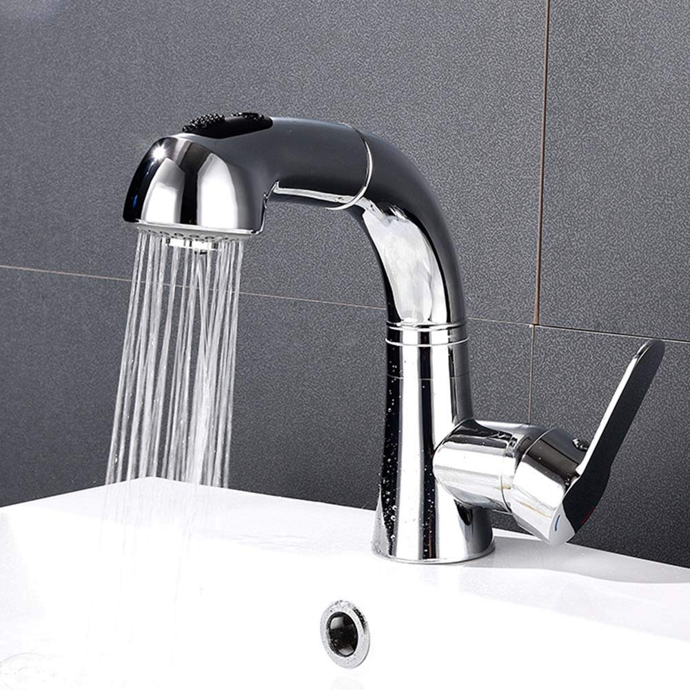 JTY Pull Down Kitchen Faucet with Sprayer Arch Single Hole Single Handle Kitchen Sink Faucet Pull Down Swivel Sprayer and Spout, Chrome