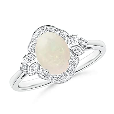 Angara October Birthstone Opal and Diamond Halo Engagement Ring in White Gold PxIeg