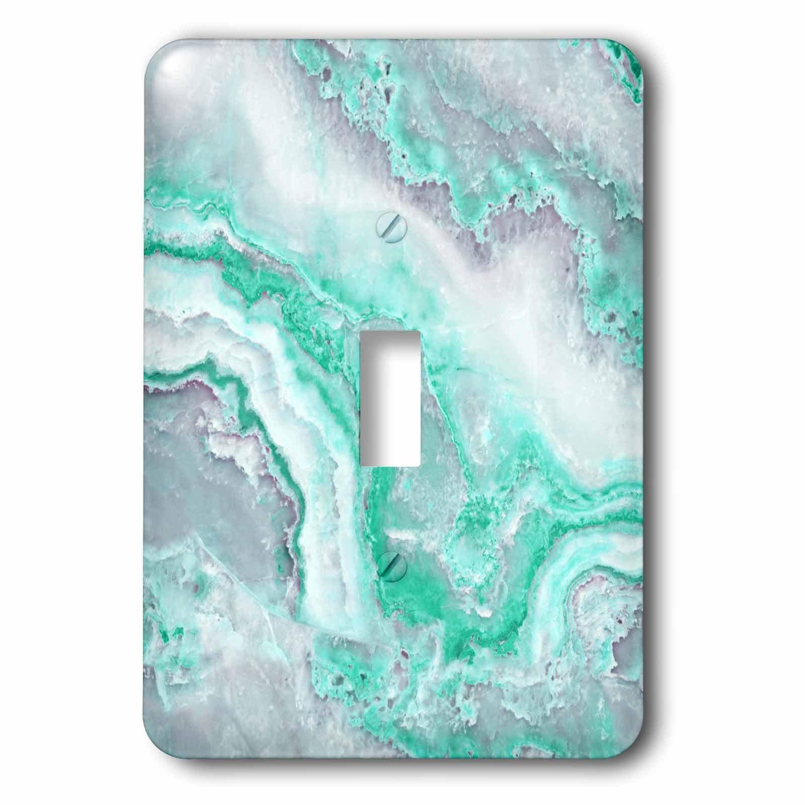 3dRose Uta Naumann Faux Glitter Pattern - Image of Trendy Luxury Aqua Mint Quartz and Gray Gemstone Agate Geode - Light Switch Covers - single toggle switch (lsp_275123_1)