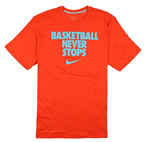 7c52126e Image Unavailable. Image not available for. Color: Nike Men's Basketball  Never Stops Dri-FIT T-Shirt X-Large Orange Photo