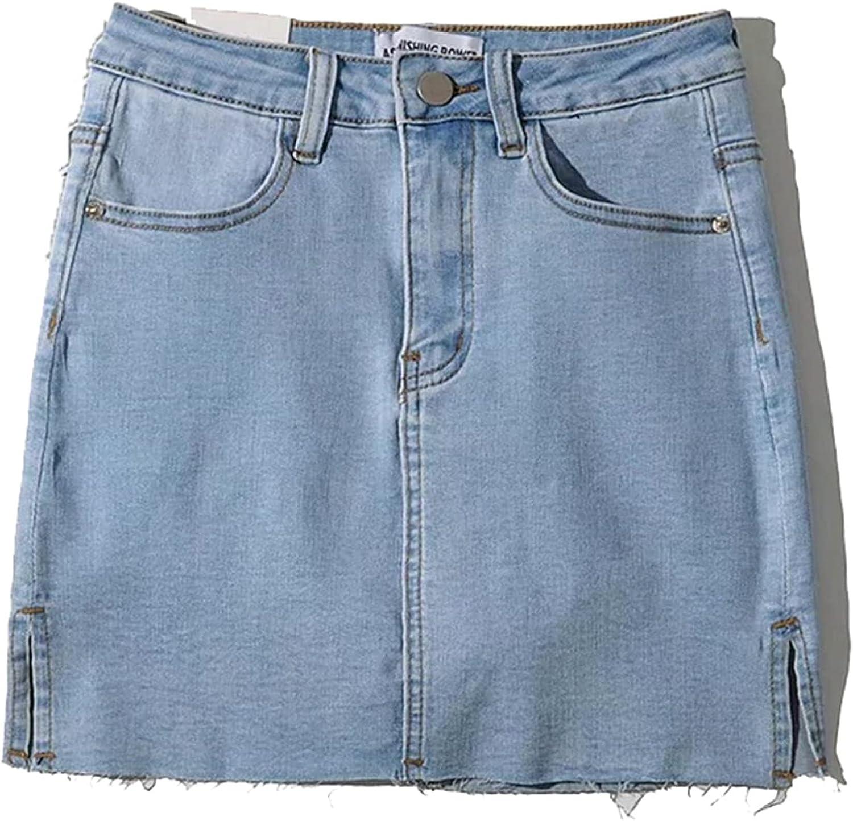 Minifalda de Mujer de Moda Suave de Cintura Alta con Abertura Lateral Falda Corta de Verano Color sólido de Secado rápido Falda de línea a de Mezclilla