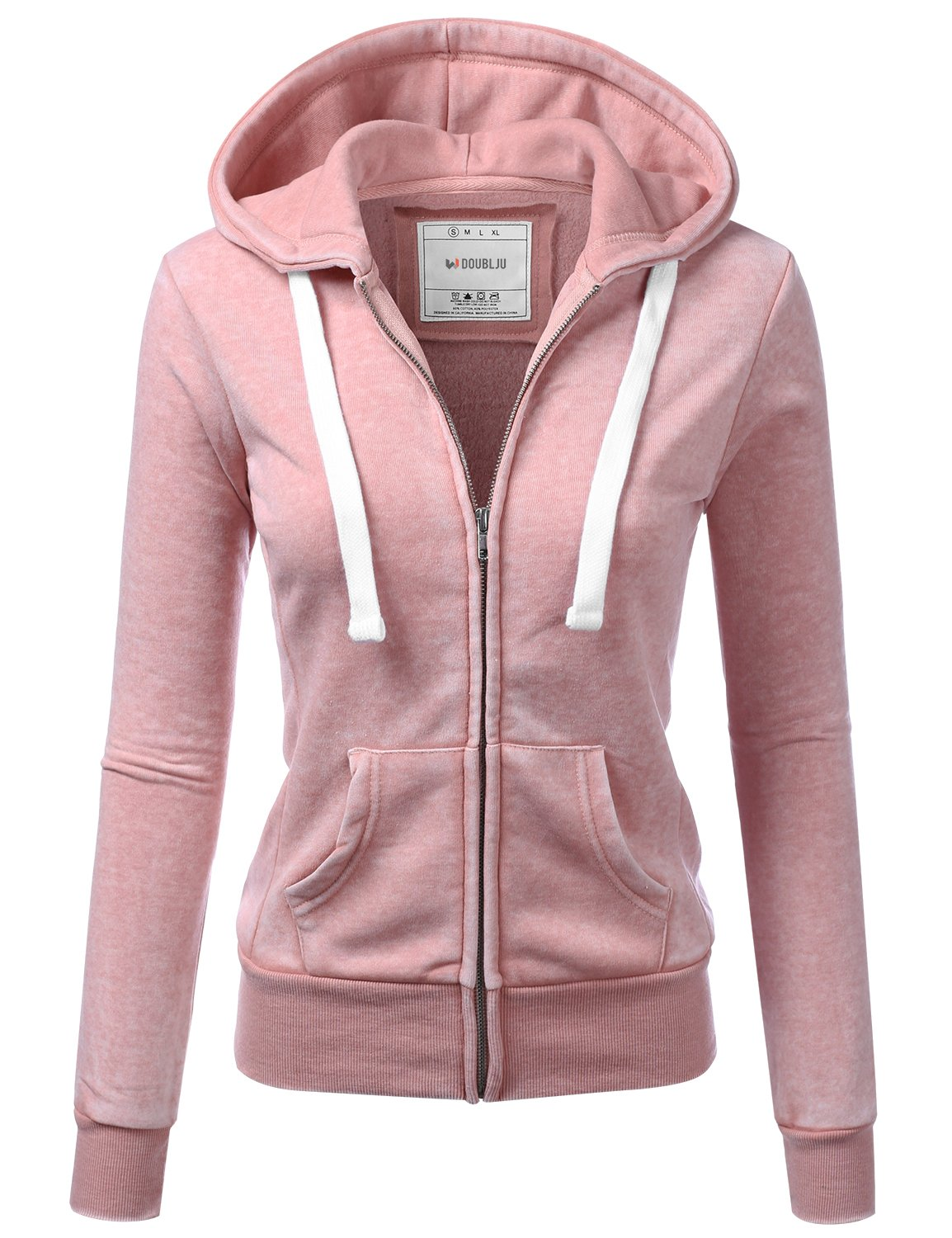 Doublju Lightweight Thin Zip-up Hoodie Jacket for Women with Plus Size MAUVEPINK X-Large by Doublju (Image #1)