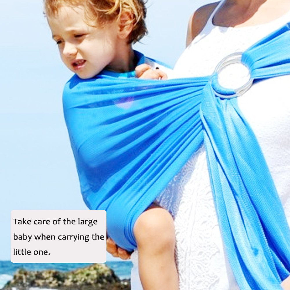 Baby Water Ring Sling and Wrap Carrier for Infant, Newborn Comfort & Toddler, Breathable Quick Dry Mesh Fabric, Adjustable, Perfect for Summer, Pool, Beach & Shower Black Kubby