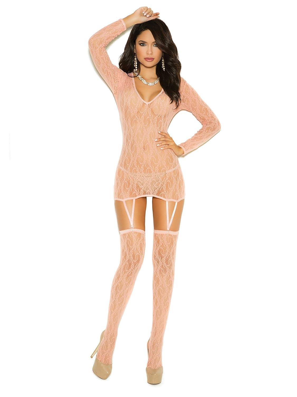Elegant Moments EM-1584 Long Sleeve Lace Camisette and Matching Stockings